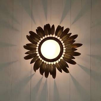 Antique Mid Century Sunburst Wall Light Ceiling Light Flush Mount Spanish Sunray Sconce