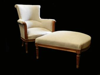 Antique C19 French Duchesse Brisee Armchair  Ottoman Stool Chaise Longue Linen