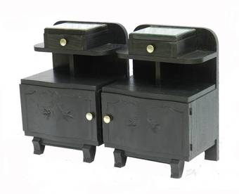 Antique Pair Art Deco Side Cabinets Ebonised Bedside Tables Nightstand