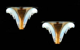 Antique Pair of French Art Deco Wall Sconces by Ezan Opalescent Glass and Copper