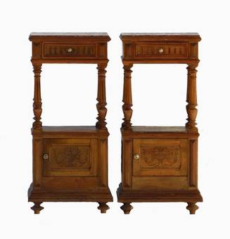 Antique Pair of French Bedside Cabinet Nightstands Walnut