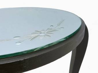 Antique Art Deco Table Mirror Top Ebonised Coffee Occasional