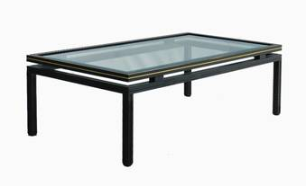 Antique Vintage Coffee Table by Pierre Vandel Brass and Glass