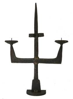 Antique Antique Candlestick Primitive Brutalist Hand Forged Iron French 17th century