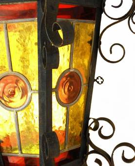 Antique Arts  Crafts French Lantern Gothic Revival Wrought Iron Light circa 1900