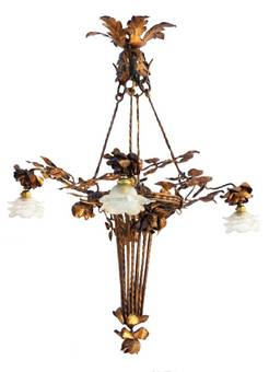 Antique Arts and Crafts Chandelier Gilded Iron Tole Floral Bouquet Frosted Glass Shades