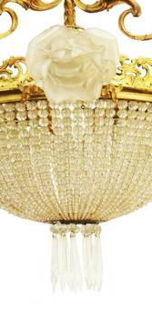 Antique Belle Epoque Chandelier French Crystal Gilt Bronze Rose Shades Late 19th Century