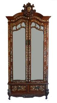 Antique Chinoiserie Inlaid Armoire 19th Century Chinese Mirror Door Wardrobe