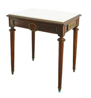 Antique French Side Table Writing Desk Ormolu Putti 19th Century Louis XVI