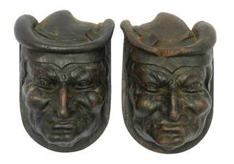 Antique Pair Hand Carved Wood Heads French Gargoyle Antique Sculpture Gothic revival
