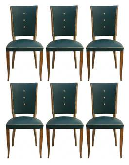 Antique Six Art Deco Dining Chairs Use or Recover and  or Customize