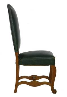 Antique Six Dining Chairs Spanish Green Leather Upholstered circa 1920