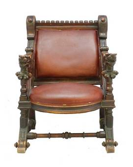 Antique Throne Desk Chair 19th Century Renaissance Carved Dragons Spanish Leather