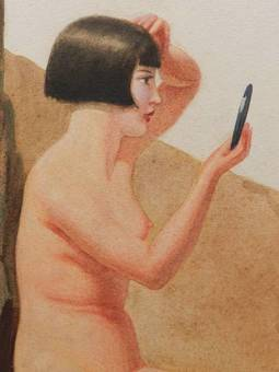Antique Watercolour painting by Frank Jameson Art Deco Nude St Ives School Cornwall