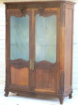 Antique early C19 French Provincial Vitrine carved oak Louis Bookcase Display Cupboard Armoire