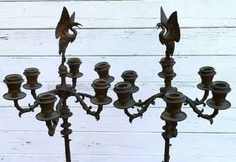 Antique PAIR C19 FRENCH BRONZE CANDELABRA CANDLESTICKS c1830