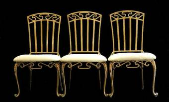 Antique 3 French C20 Louis Grecian Design Metal Dining Garden Chairs