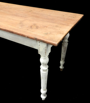 Antique 2m Long C19 French Farmhouse Scrub Top Dining Table Pine Kitchen Serving Table