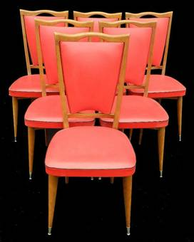 Antique 6 Red Mid Century French Dining Chairs c1960s Deco