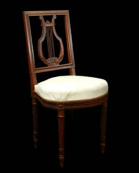 Antique 4 French Louis Chairs Lyre Back Side or Dining ready for top covers