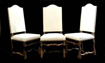 Antique 6 French Dining Chairs Os de Mouton walnut and antique Linen