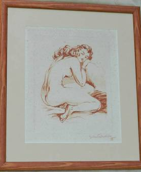 Antique Original Signed French Print Etching of Nude Woman c1940