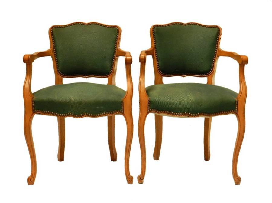 Pair of French Bridge Chairs Open Armchairs to recover