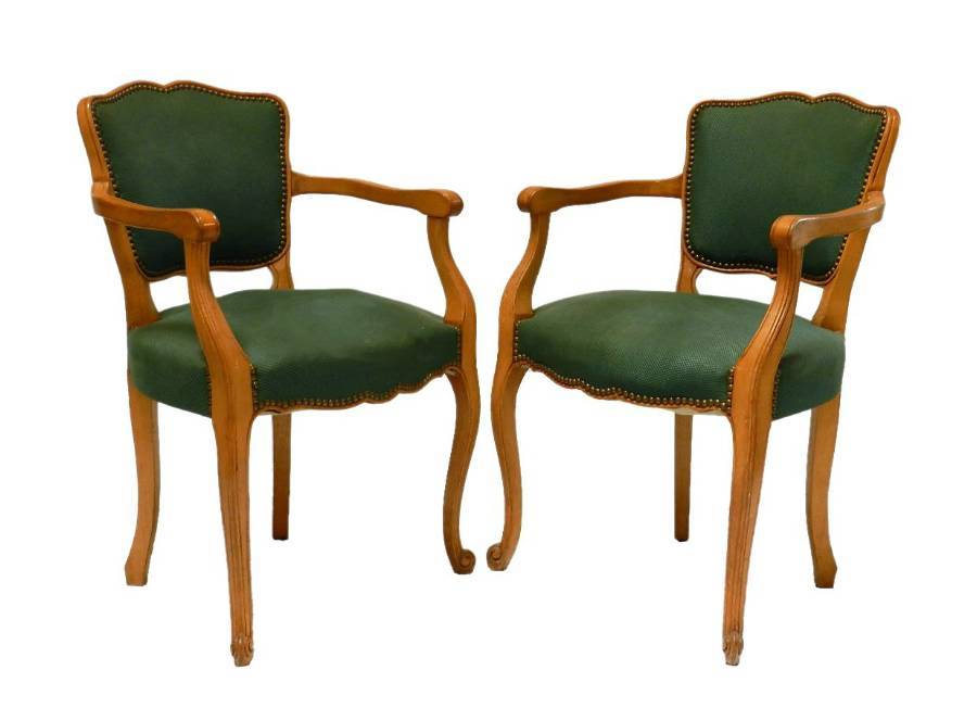 Antique Pair of French Bridge Chairs Open Armchairs to recover