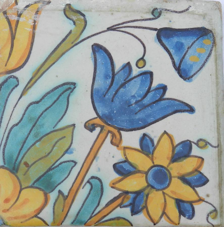 Antique Set of 6 Old French Tiles Provincial Hand Painted Terracotta