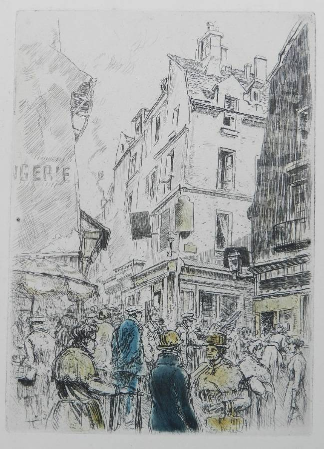Antique Eugene Veder Etching French Street Scene 1920s