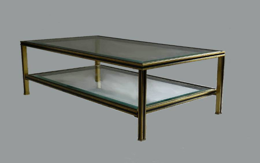 1970s French Coffee Table by Pierre Vandel Glass  Metal