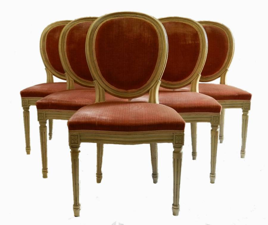 6 French Dining Chairs painted Louis Medallion Back to recover
