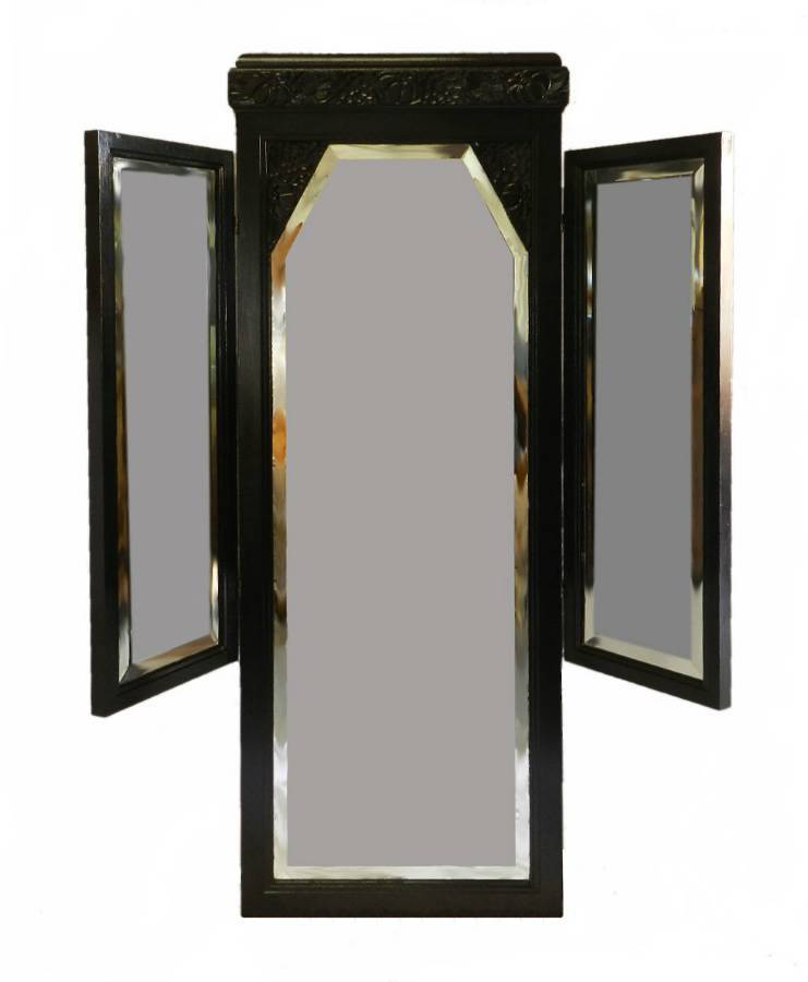 French Art Deco Ebonised Triple Mirror Dressing Wall Floor Mirror Folding style of Sue et Mare