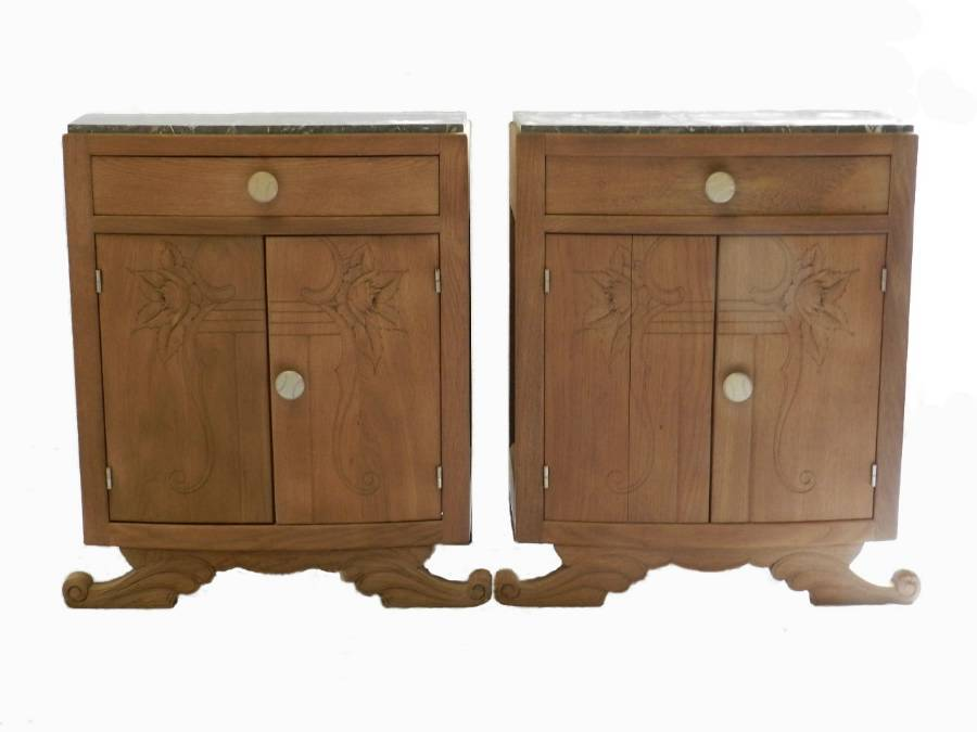 Antique French Pair Art Deco Side Cabinets Nightstand Bedside Tables bleached oak