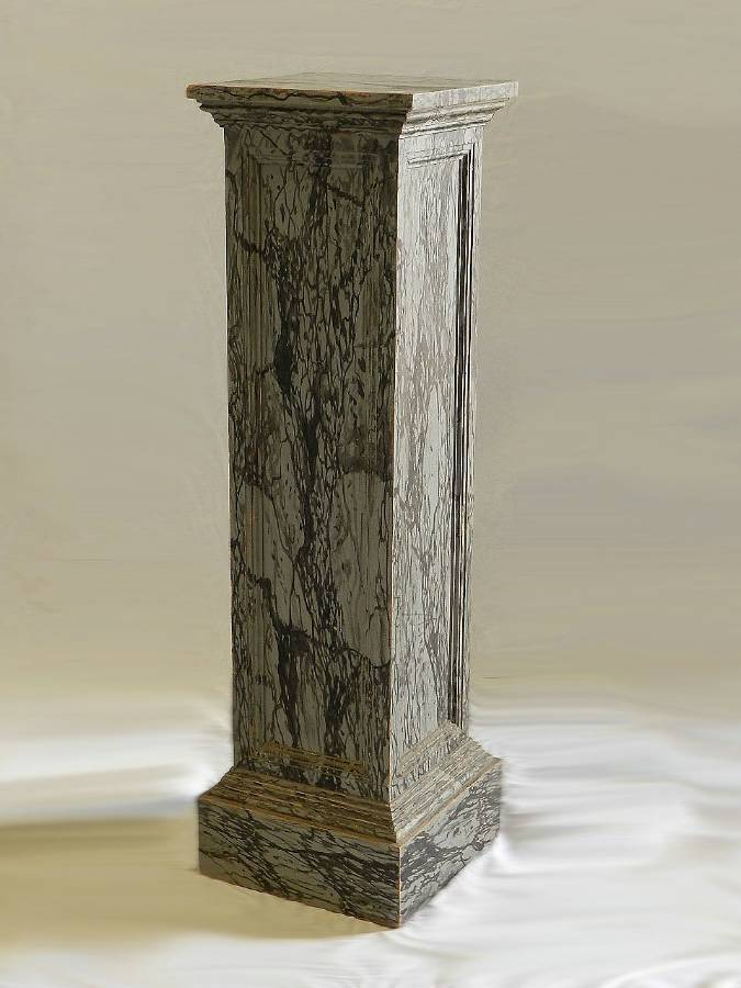 Antique Original C19 French Painted Column Faux Marble