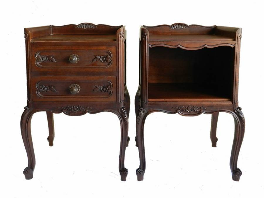 Pair French Side Cabinets Nightstand Bedside Tables