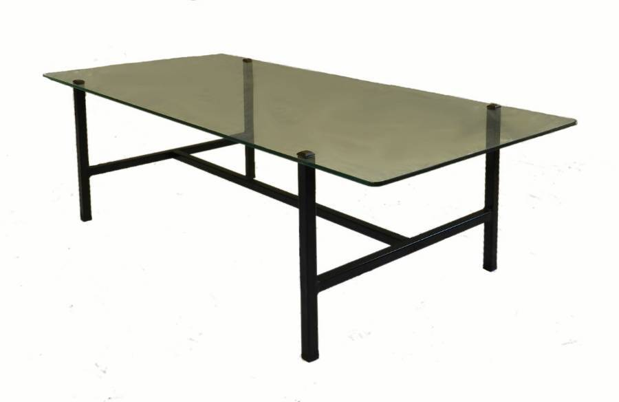 Metal  Glass Coffee Table Mid Century