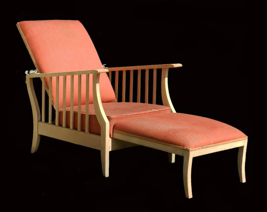 Arts  Crafts Morris Chair Folding Art Deco Reclining Armchair Lounger Mission Bleached Wood