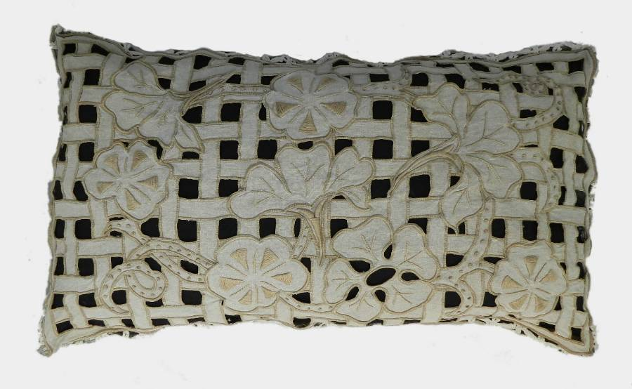 Original French Pillow Antique Cutwork Cushion Linen Embroidery