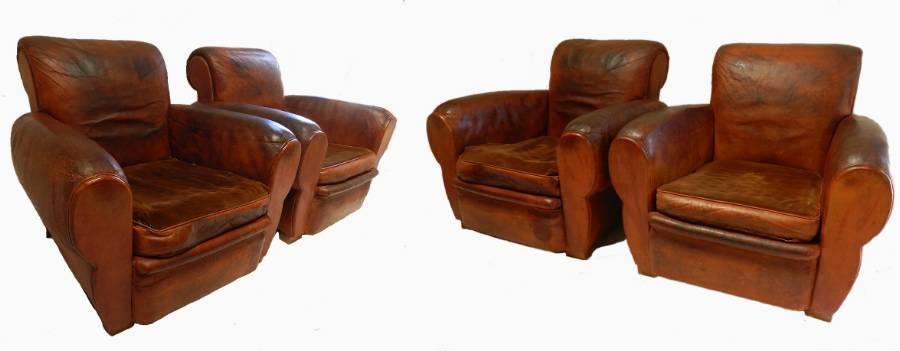 Rare Set 4 French Leather Club Chairs Mid Century Armchairs