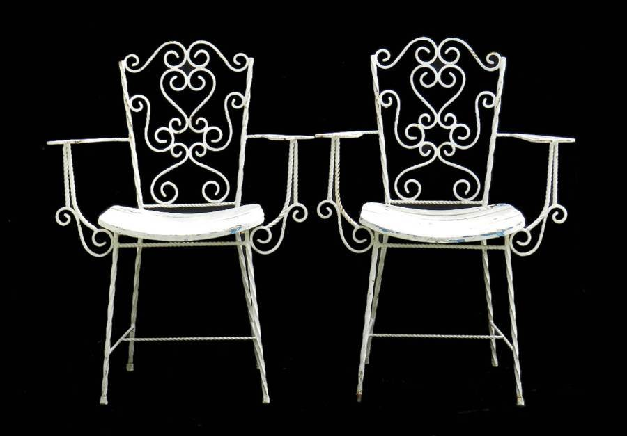 Good Pair French Garden Chairs Wrought Iron early C20