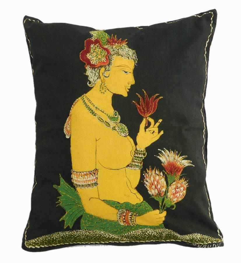 Antique Vintage Indian Pillow Accent Cushion c1960
