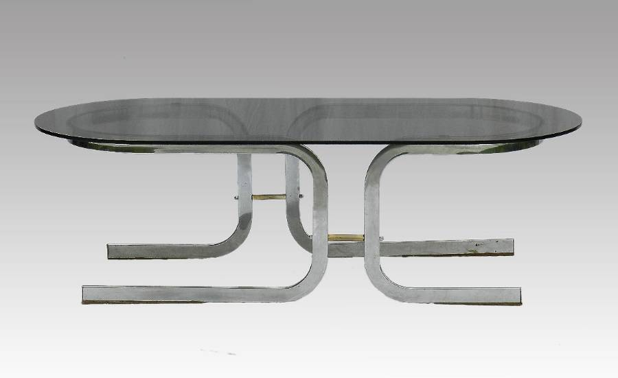 Coffee Table Chrome  Glass Mid Century