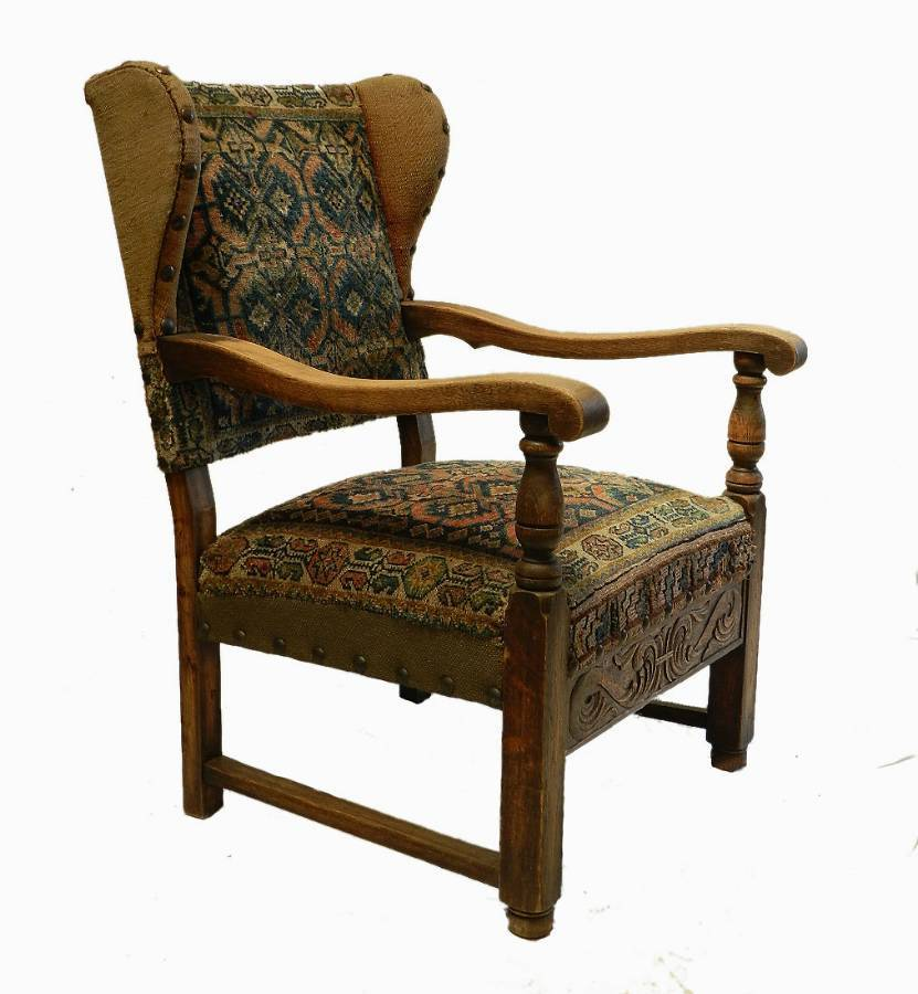 Splendid French Carpet Chair Country Oak Wing Armchair