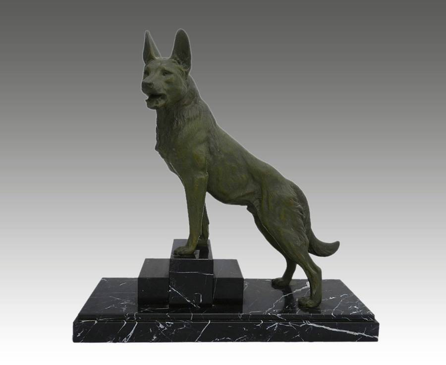 Art Deco Dog Statue signed L Carvin