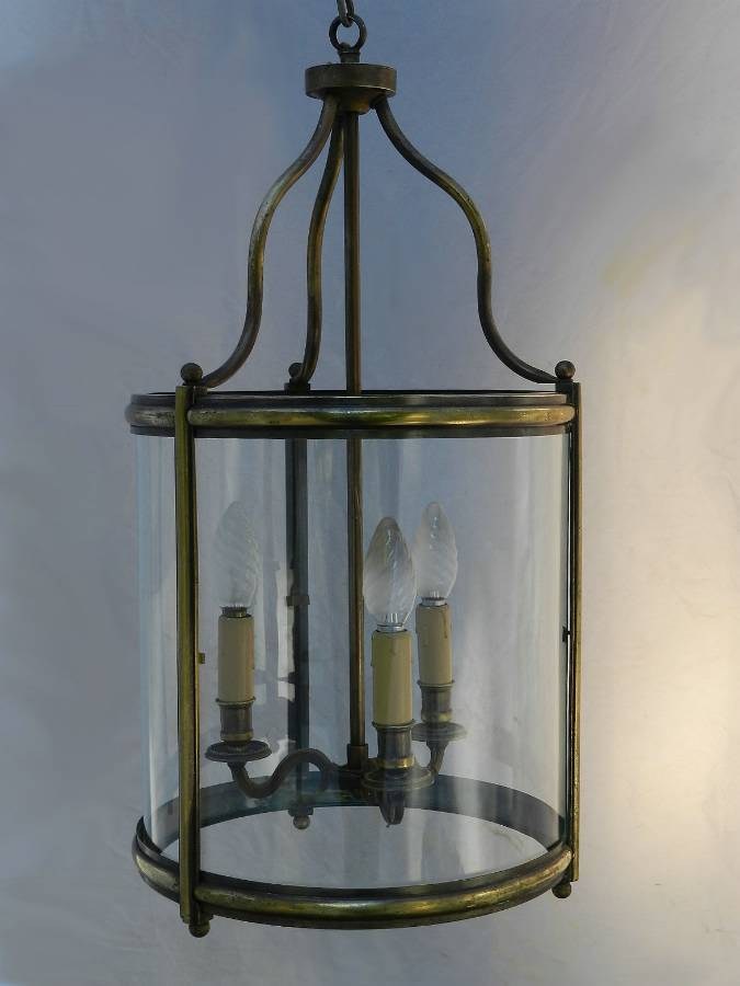Antique Large French Lantern Glass  Brass