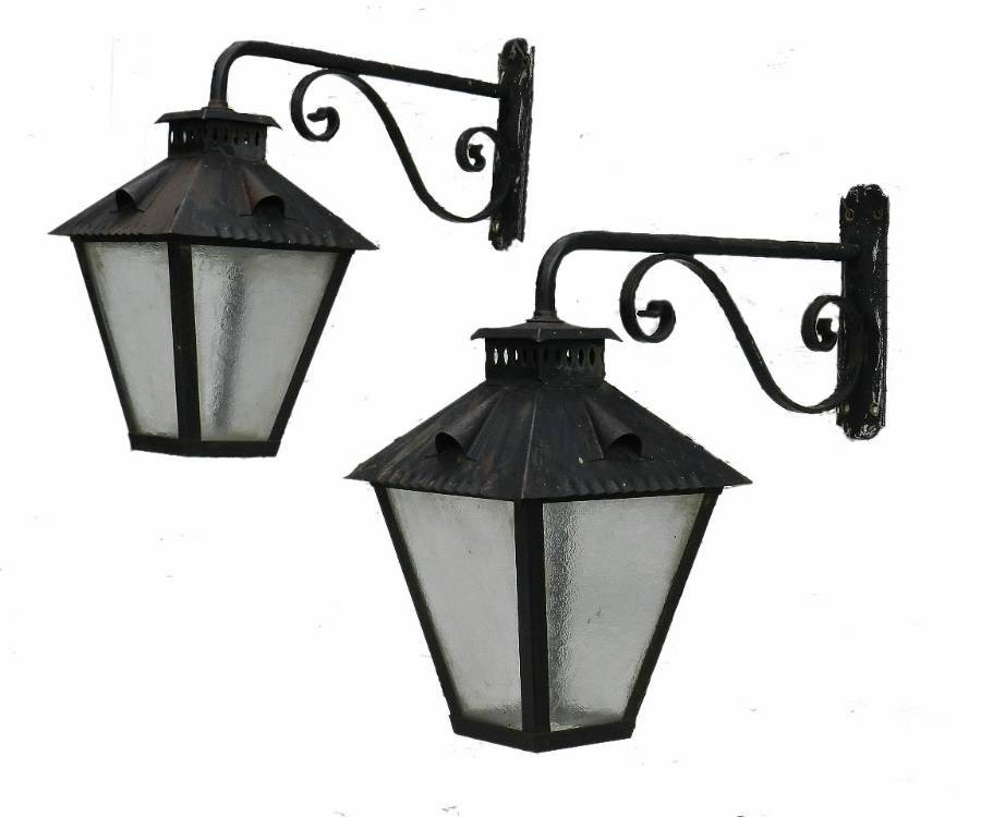 Large Pair of Exterior Wall Lights Wrought Iron  Glass Lanterns