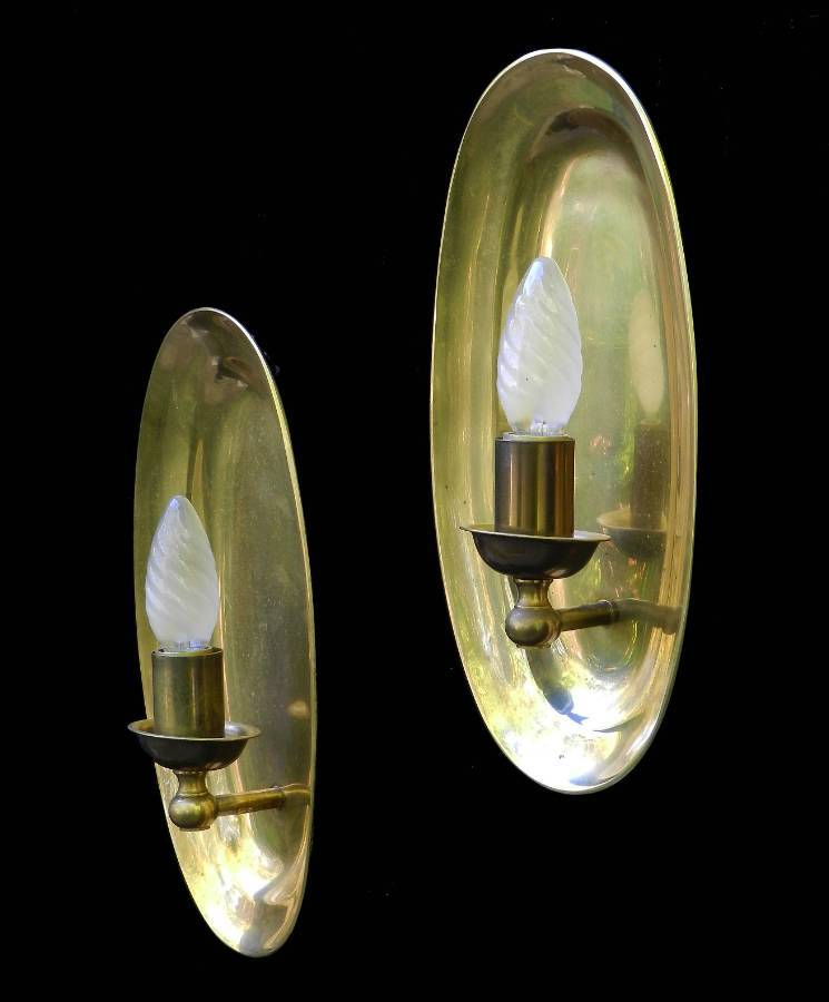 Antique Unusual Pair of Heavy Brass Wall Lights MidCentury Sconces