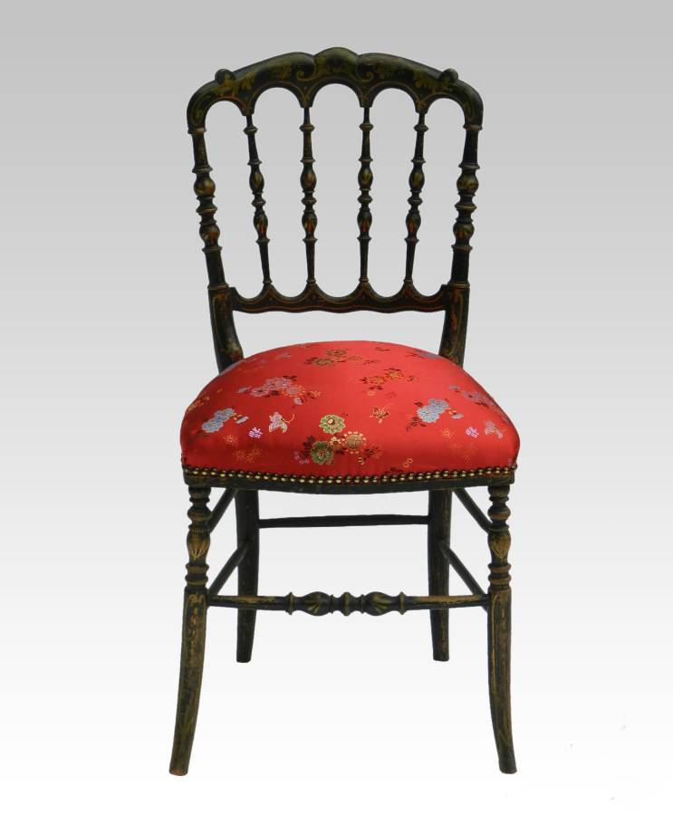 French Napoleon III Side Chair Ebonised Chiavari Chinoiserie