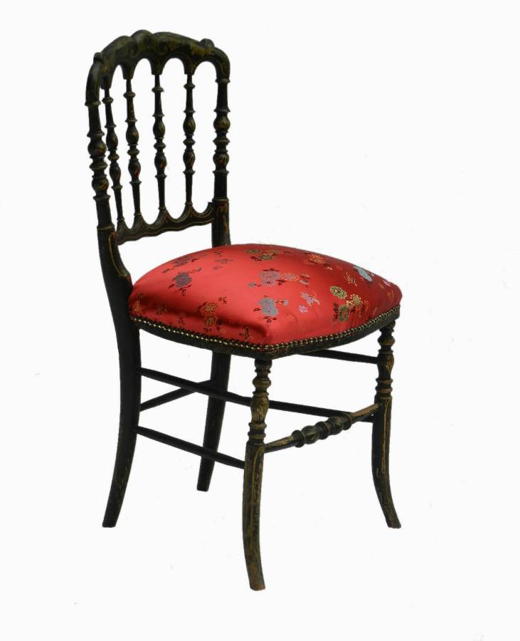 Antique French Napoleon III Side Chair Ebonised Chiavari Chinoiserie